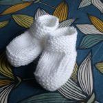 patron chaussons bébé tricot layette point mousse